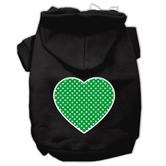 Mirage Pet Products Green Swiss Dot Heart Screen Print Pet Hoodies Black Size Sm (10)