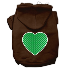 Mirage Pet Products Green Swiss Dot Heart Screen Print Pet Hoodies Brown Size XS (8)