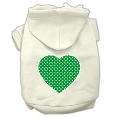Mirage Pet Products Green Swiss Dot Heart Screen Print Pet Hoodies Cream Size XXL (18)