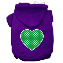 Mirage Pet Products Green Swiss Dot Heart Screen Print Pet Hoodies Purple Size Med (12)