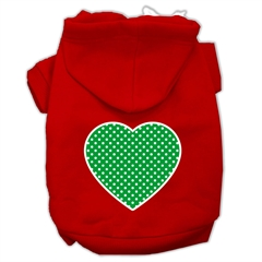 Mirage Pet Products Green Swiss Dot Heart Screen Print Pet Hoodies Red Size Med (12)