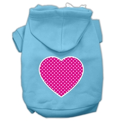 Mirage Pet Products Pink Swiss Dot Heart Screen Print Pet Hoodies Baby Blue Size XS (8)