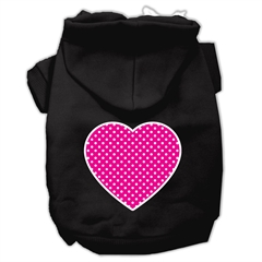 Mirage Pet Products Pink Swiss Dot Heart Screen Print Pet Hoodies Black Size XXL (18)