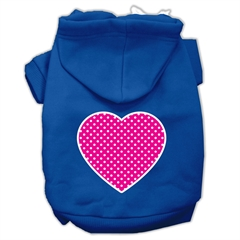 Mirage Pet Products Pink Swiss Dot Heart Screen Print Pet Hoodies Blue Size Lg (14)