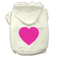 Mirage Pet Products Pink Swiss Dot Heart Screen Print Pet Hoodies Cream Size XXXL(20)