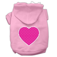 Mirage Pet Products Pink Swiss Dot Heart Screen Print Pet Hoodies Light Pink Size Med (12)