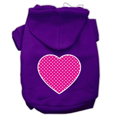 Mirage Pet Products Pink Swiss Dot Heart Screen Print Pet Hoodies Purple Size Sm (10)