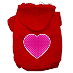 Mirage Pet Products Pink Swiss Dot Heart Screen Print Pet Hoodies Red Size XXL (18)