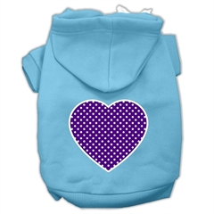 Mirage Pet Products Purple Swiss Dot Heart Screen Print Pet Hoodies Baby Blue Size Med (12)
