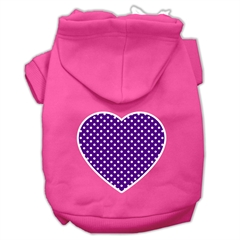 Mirage Pet Products Purple Swiss Dot Heart Screen Print Pet Hoodies Bright Pink Size Med (12)