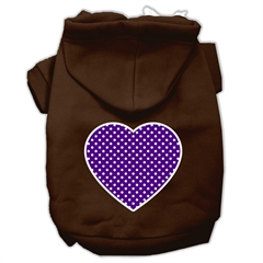Mirage Pet Products Purple Swiss Dot Heart Screen Print Pet Hoodies Brown Size Sm (10)