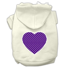 Mirage Pet Products Purple Swiss Dot Heart Screen Print Pet Hoodies Cream Size S (10)