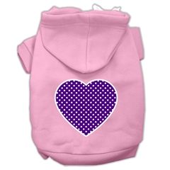 Mirage Pet Products Purple Swiss Dot Heart Screen Print Pet Hoodies Light Pink Size XXXL (20)
