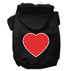 Mirage Pet Products Red Swiss Dot Heart Screen Print Pet Hoodies Black Size XXXL (20)