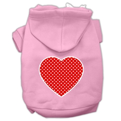 Mirage Pet Products Red Swiss Dot Heart Screen Print Pet Hoodies Light Pink Size Sm (10)