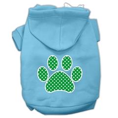 Mirage Pet Products Green Swiss Dot Paw Screen Print Pet Hoodies Baby Blue Size XXXL (20)