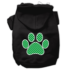 Mirage Pet Products Green Swiss Dot Paw Screen Print Pet Hoodies Black Size Med (12)