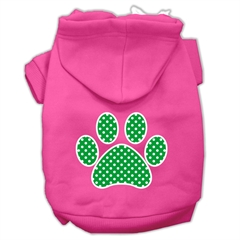 Mirage Pet Products Green Swiss Dot Paw Screen Print Pet Hoodies Bright Pink Size Sm (10)