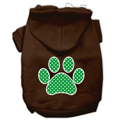 Mirage Pet Products Green Swiss Dot Paw Screen Print Pet Hoodies Brown Size Sm (10)