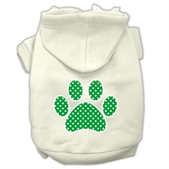 Mirage Pet Products Green Swiss Dot Paw Screen Print Pet Hoodies Cream Size XXXL(20)
