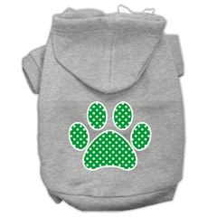 Mirage Pet Products Green Swiss Dot Paw Screen Print Pet Hoodies Grey Size XS (8)