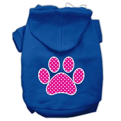 Mirage Pet Products Pink Swiss Dot Paw Screen Print Pet Hoodies Blue Size XS (8)