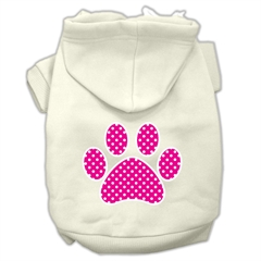 Mirage Pet Products Pink Swiss Dot Paw Screen Print Pet Hoodies Cream Size L (14)