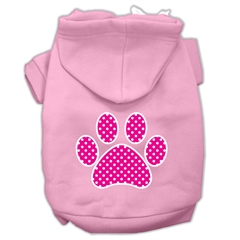 Mirage Pet Products Pink Swiss Dot Paw Screen Print Pet Hoodies Light Pink Size XL (16)