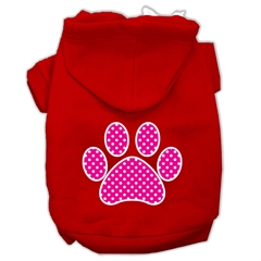 Mirage Pet Products Pink Swiss Dot Paw Screen Print Pet Hoodies Red Size XXXL (20)