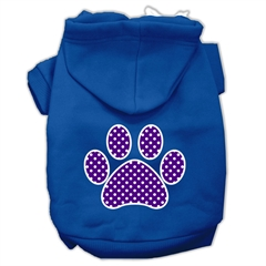 Mirage Pet Products Purple Swiss Dot Paw Screen Print Pet Hoodies Blue Size XXL (18)