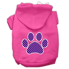 Mirage Pet Products Purple Swiss Dot Paw Screen Print Pet Hoodies Bright Pink Size XXXL (20)