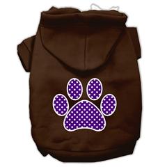 Mirage Pet Products Purple Swiss Dot Paw Screen Print Pet Hoodies Brown Size XL (16)