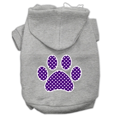 Mirage Pet Products Purple Swiss Dot Paw Screen Print Pet Hoodies Grey Size XS (8)