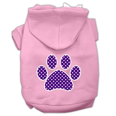 Mirage Pet Products Purple Swiss Dot Paw Screen Print Pet Hoodies Light Pink Size XS (8)