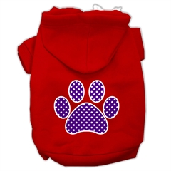 Mirage Pet Products Purple Swiss Dot Paw Screen Print Pet Hoodies Red Size XXXL (20)