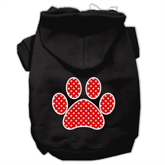 Mirage Pet Products Red Swiss Dot Paw Screen Print Pet Hoodies Black Size Sm (10)