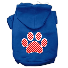 Mirage Pet Products Red Swiss Dot Paw Screen Print Pet Hoodies Blue Size XXL (18)