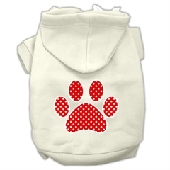Mirage Pet Products Red Swiss Dot Paw Screen Print Pet Hoodies Cream Size L (14)