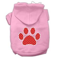 Mirage Pet Products Red Swiss Dot Paw Screen Print Pet Hoodies Light Pink Size Sm (10)