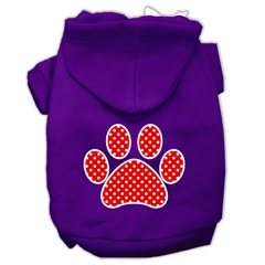 Mirage Pet Products Red Swiss Dot Paw Screen Print Pet Hoodies Purple Size Sm (10)
