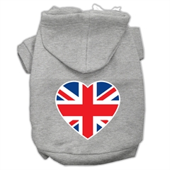 Mirage Pet Products British Flag Heart Screen Print Pet Hoodies Grey Size XXXL (20)