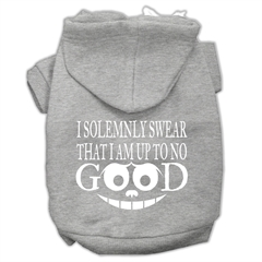 Mirage Pet Products Up to No Good Screen Print Pet Hoodies Grey Size XS (8)