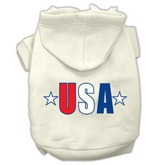 Mirage Pet Products USA Star Screen Print Pet Hoodies Cream Size Sm (10)
