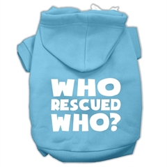 Mirage Pet Products Who Rescued Who Screen Print Pet Hoodies Baby Blue Size XXL (18)