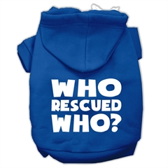 Mirage Pet Products Who Rescued Who Screen Print Pet Hoodies Blue Size XS (8)