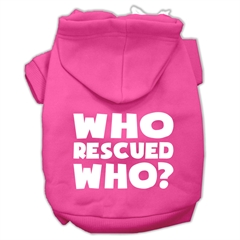 Mirage Pet Products Who Rescued Who Screen Print Pet Hoodies Bright Pink Size XXXL (20)