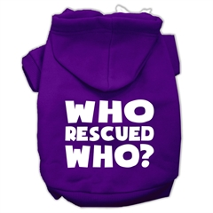 Mirage Pet Products Who Rescued Who Screen Print Pet Hoodies Purple Size Lg (14)