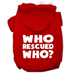 Mirage Pet Products Who Rescued Who Screen Print Pet Hoodies Red Size XL (16)