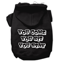 Mirage Pet Products You Come, You Sit, You Stay Screen Print Pet Hoodies Black Size Lg (14)