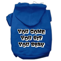 Mirage Pet Products You Come, You Sit, You Stay Screen Print Pet Hoodies Blue Size Med (12)